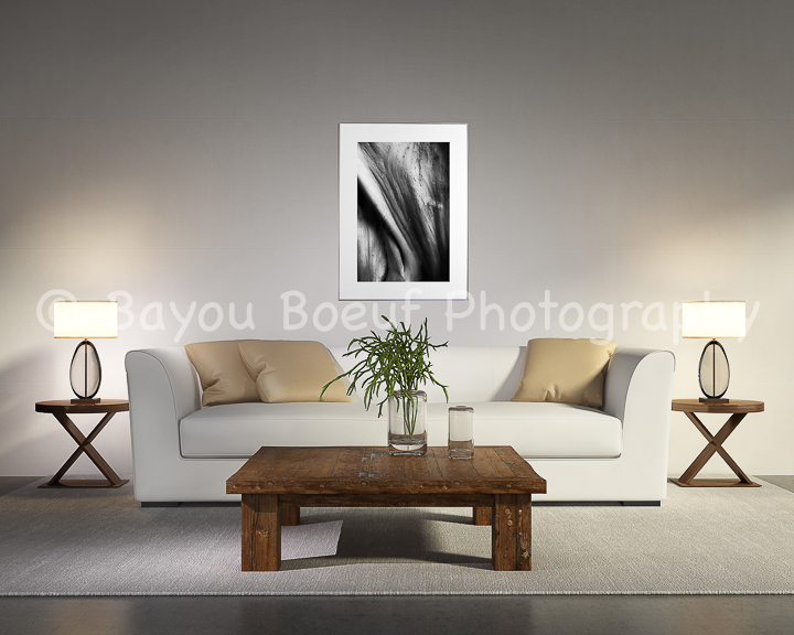 Contemporary white living room with sofa, table
